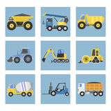 Construction delivery truck transportation vehicle mover road machine equipment vector. Stock Images