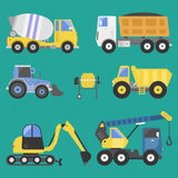 Construction delivery truck transportation vehicle mover road machine equipment vector. Stock Photography