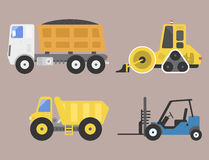 Construction delivery truck transportation vehicle mover road machine equipment vector. Royalty Free Stock Image