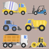 Construction delivery truck transportation vehicle mover road machine equipment vector. Delivery truck transportation construction vehicle and road machine Royalty Free Stock Image