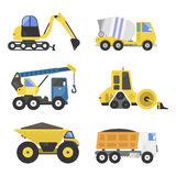 Construction delivery truck transportation vehicle mover road machine equipment vector. Delivery truck transportation construction vehicle and road machine Royalty Free Stock Photo