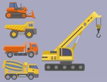 Construction delivery truck vector transportation vehicle construct and road trucking machine equipment large platform. Construction delivery truck vector Stock Photos