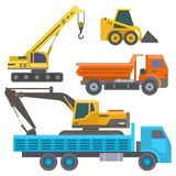 Construction delivery truck vector transportation vehicle construct and road trucking machine equipment large platform. Construction delivery truck vector Royalty Free Stock Photography