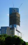 Construction des gratte-ciel du centre international d'affaires Images stock