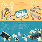 Construction and Design engineering objects banners Royalty Free Stock Images