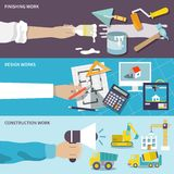 Construction design flat banner set. Construction design finishing work flat banner set with human hands isolated vector illustration Stock Images