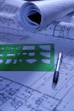 Construction design papers with guide. And pen Royalty Free Stock Photo