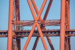 Construction detail Forth Bridge over Firth of Forth in Scotland royalty free stock photo