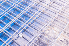 Construction details: reinforcement bar on floor formworks before pouring concrete. Construction details: reinforcement bar prepared on floor formworks before Royalty Free Stock Photography