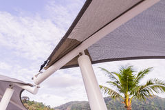 Construction details : Roof canvas corner with steel structure Stock Photos