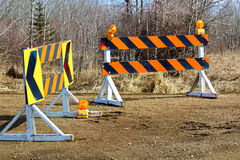 A construction and detour sign blockage Stock Image