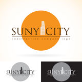 Construction development building company, vector logo design mock up template set. abstract concept skyscraper icon, sun silhouet Stock Photos