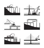 Construction of different bridges. Vector illustration stock illustration