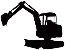 Construction digger excavator. Vector art of a construction mechanical digger on white background Royalty Free Stock Photos