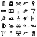Construction of district icons set, simple style. Construction of district icons set. Simple set of 25 construction of district vector icons for web isolated on Stock Photos
