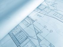 Construction Document. Construction Blueprint with Building Drawings royalty free stock photo
