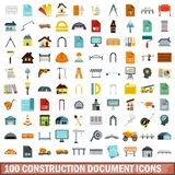 100 construction document icons set, flat style. 100 construction document icons set in flat style for any design vector illustration stock illustration