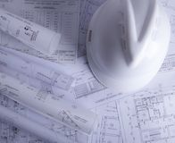 Construction documents in the table royalty free stock images