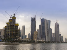 Construction of the Doha, Qatar Skyline Royalty Free Stock Photos