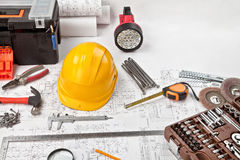 Construction drafts and tools background Stock Photos