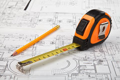 Construction drafts and tools background Royalty Free Stock Image