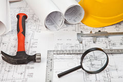 Construction drafts and tools background Royalty Free Stock Photo