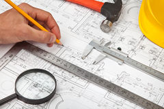 Construction drafts and tools background Stock Images