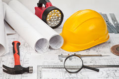 Construction drafts and tools background Stock Photo
