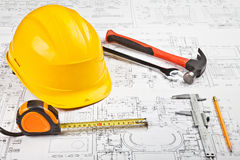 Construction drafts and tools background Stock Photography
