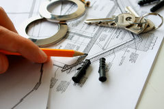 Construction drafts and tools on the table Stock Photos