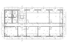 Construction drawing. Of an office building. Black and white illustration royalty free illustration