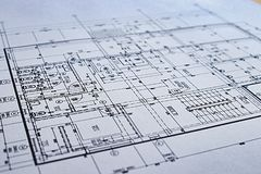 Construction drawing Architecture Detail White paper with dimensions and lines. CloseUp stock photos