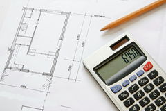 Construction drawing blueprints Royalty Free Stock Photography