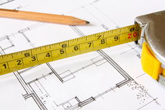 Construction drawing blueprints Royalty Free Stock Images