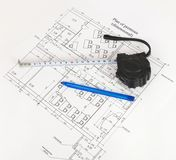 Construction drawing. Desk builder Royalty Free Stock Image