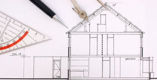 Construction drawing of an house Stock Photo