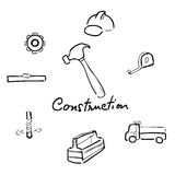 Construction drawing icons set Stock Photos