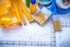 Construction drawing with paint tools duct tape Stock Photography