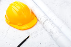 Construction drawing and safety helmet Royalty Free Stock Image