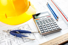 Construction drawing and tools Stock Photography