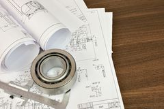 Construction drawings, caliper and bearing Royalty Free Stock Photography
