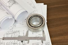 Construction drawings, caliper and bearing Stock Photos
