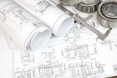 Construction drawings, caliper and bearing Royalty Free Stock Images