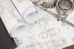 Construction drawings, caliper and bearing Royalty Free Stock Image