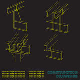 Construction drawings. 3D metal construction. The beams and columns. Stock Photography