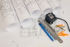 Construction drawings. Desk builder Stock Photo