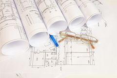 Construction drawings, glasses and pen Royalty Free Stock Images