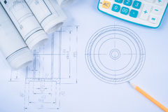 Construction drawings slide caliper roller bearings on blueprint architecture and building concept. Stock Photography