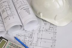 Construction drawings. Workplace architect Royalty Free Stock Photography