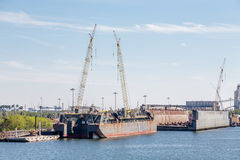 Construction on Dry Dock Stock Image